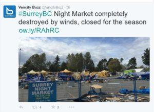 #BCstorm closes Surrey Night Market