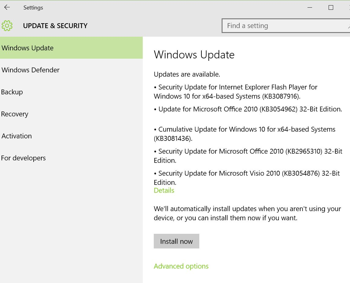 Windows 10 has its first Patch Tuesday August 2015