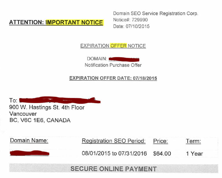 SEO Domain Registration Scams