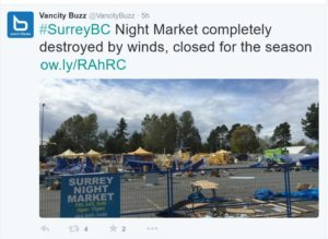 #BCstorm closes Surrey Night Market