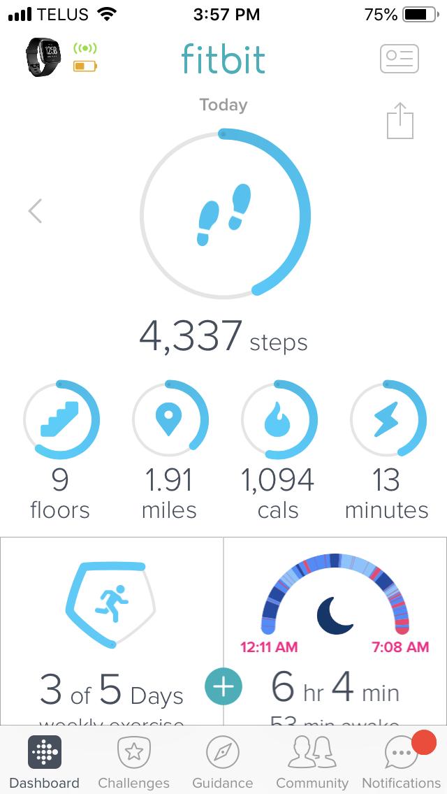 Fitbit Versa App Dashboard