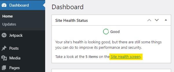 WordPress Dashboard Site Health